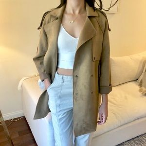 Faux Suede Trench Coat - Camel - Size S